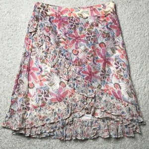 Free People floral ruffle asymmetrical mini skirt
